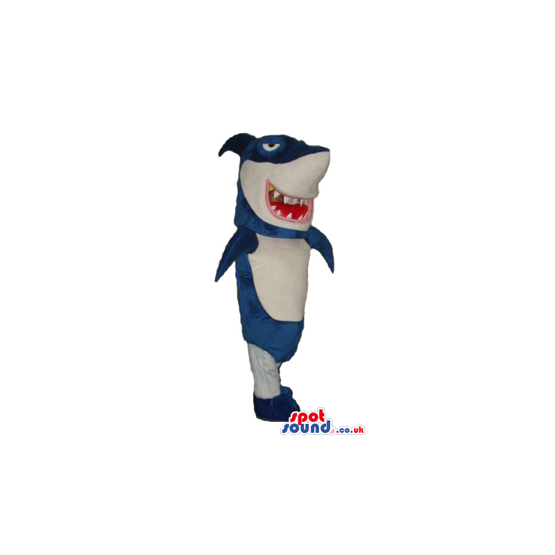 Blue And White Shark Plush Mascot With Sharp Jaws - Custom
