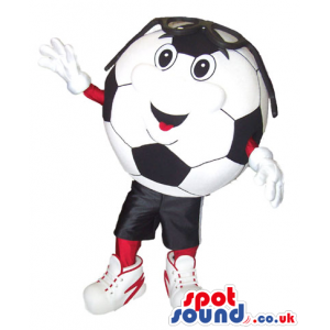 Soccer Ball Plush Mascot With A Funny Face Wearing Sunglasses -