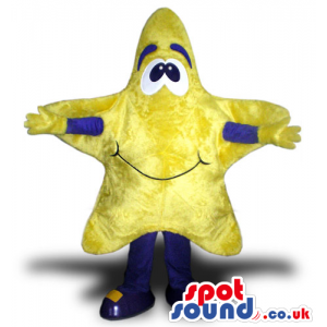 Customizable Yellow Star Mascot With A Cute Face And Blue Arms