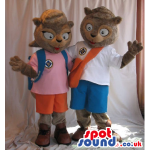 Squirrel Plush Mascot Couple Wearing Explorer Garments And