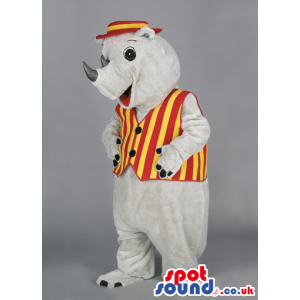 White Rhino mascot wearing red and yellow striped hat and vest