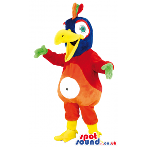 Multicolored parrot mascot with yellow beak and green hands -