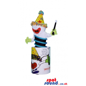 Jack In The Box Clown Mascot Gadget With A Party Hat And Text -