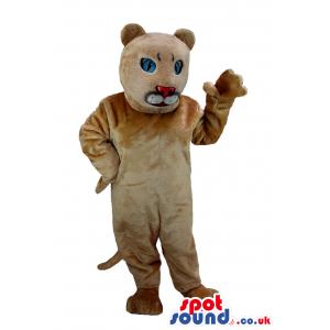 Customizable Beige Panther Plush Mascot With Blue Eyes - Custom