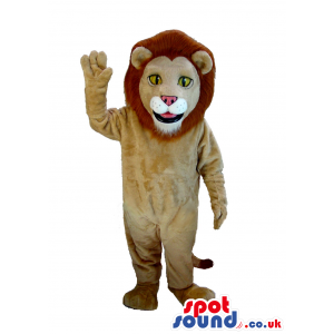 Beige Lion Plush Mascot With A Brown Hair And Yellow Eyes -