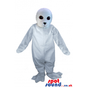 Customizable All White Polar Sear Plush Mascot With Black Eyes