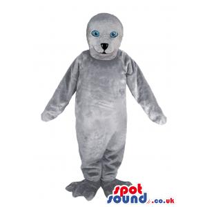 Customizable All Grey Polar Sear Plush Mascot With Blue Eyes -