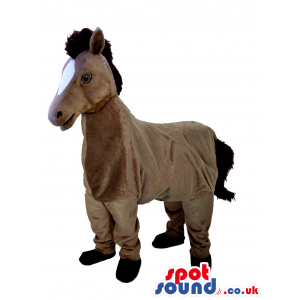 Brown Horse Plush Mascot On All-Fours With A White Face -