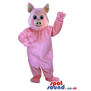 Customizable Plain All Pink Plush Mascot With Blue Eyes -