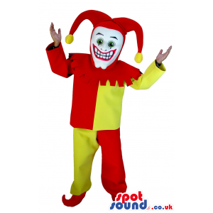 Funny Yellow And Red Pierrot Clown Mascot Or Costume - Custom
