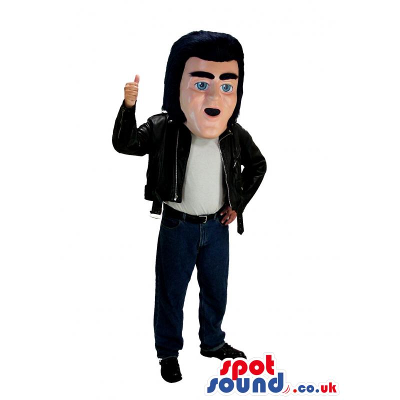 Elvis Singer Human Mascot Wearing A Leather Jacket - Custom