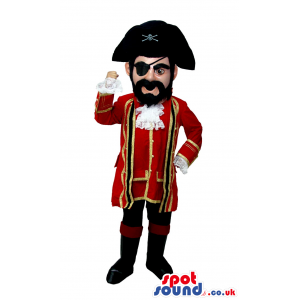 Human Character Mascot With A Mustache Wearing Pirate Garments
