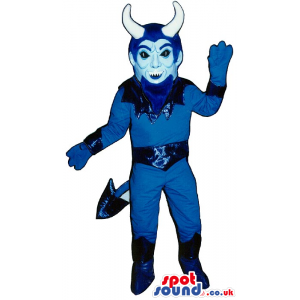 Halloween Flashy All Blue Devil Mascot With Big White Horns -