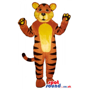 Customizable Tiger Plush Mascot With A Yellow Belly - Custom