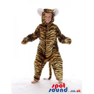 Brown Tiger With Black Stripes Plush Children Size Costume -