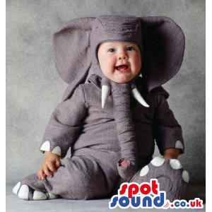 Cute All Grey Elephant Animal Baby Size Plush Costume - Custom