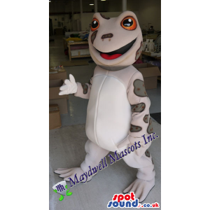 Grey Frog Plush Mascot With A White Belly And Red Eyes - Custom