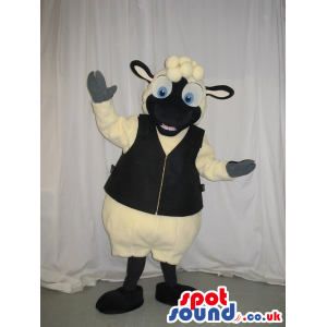 Sheep Plush Mascot With A Black Face Wearing A Vest - Custom
