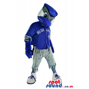 Blue Bird Plush Mascot Wearing Sports Garments With A Logo -