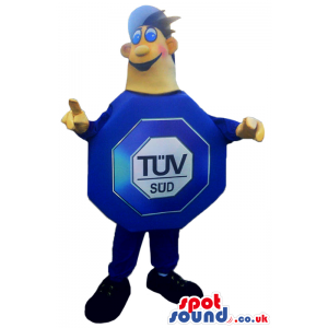 Boy Mascot In A Big Blue Octagon Sign With Brand Name - Custom