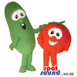 Red Tomato And A Green Cucumber Mascot Couple With Cute Faces -