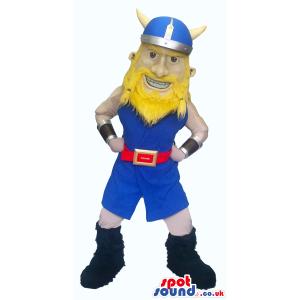 Viking Human Character Mascot Wearing Yellow And Blue Garments