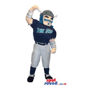 Viking Human Character Mascot Wearing Baseball Team Garments -