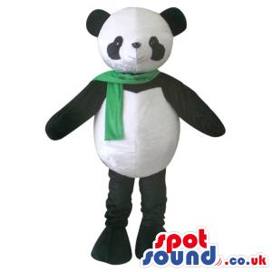 Cute Panda Bear Plush Mascot Wearing A Green Scarf - Custom