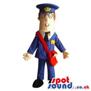 Cartoon Character Mascot Wearing Postman Garments And Glasses -