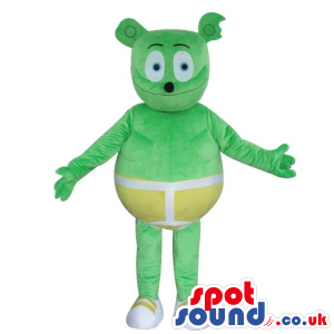 Fantasy Green Bear Plush Mascot Wearing Yellow Shorts - Custom