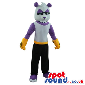 White And Purple Bear Mascot Wearing Cool Glasses And Clothes -
