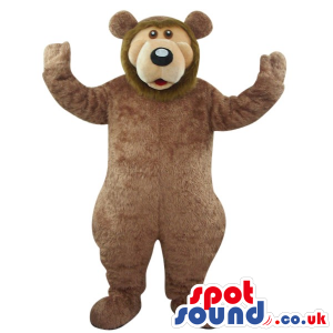 Big Brown Bear Forest Animal Plush Mascot With A Beige Face -