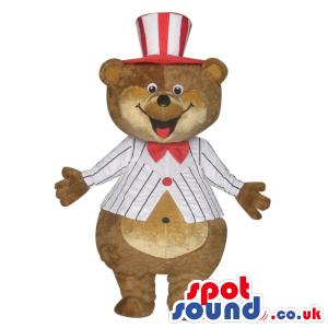 Brown Big Bear Plush Mascot Wearing Circus Garments And A Top