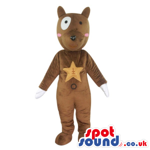 Fantasy Brown Dog Plush Mascot With A Star On Its Chest -