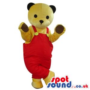 All Beige Teddy Bear Plush Mascot Wearing Red Overalls - Custom