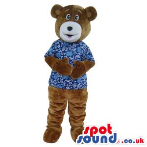 Customizable Brown Bear Plush Mascot Wearing A Blue Shirt. -