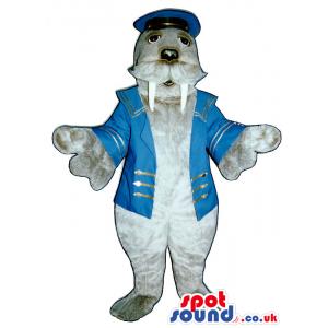 Customizable Grey Seal Plush Mascot Wearing Boat Captain