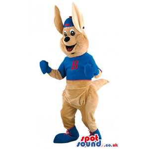 Happy kangaroo mascot with pointy ears and wearing blue outfit