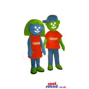 Blue And Green Boy And Girl Mascot Couple In Clothes With Logo