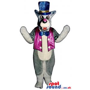 Grey Angry Wolf Plush Mascot Wearing Shinny Circus Garments -