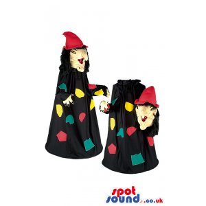 Witch mascot wearing long black robe and with removable head -