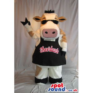 Cow Plush Mascot Wearing Sunglasses And An Apron With Brand
