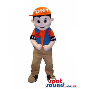 Boy Mascot Wearing Street Clothes And A Cap And Badge With Text