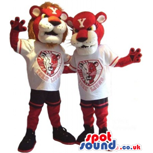 Two Red And White Lion Plush Mascots In T-Shirts With A Team