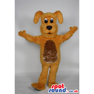 Cute Yellow Dog Animal Plush Mascot With A Golden Belly -