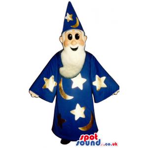 Blue Magician Human Mascot Wearing Sun And Moon Garments -