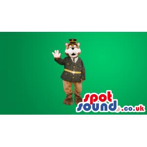 Brown Bear Plush Mascot Wearing A Green Uniform - Custom Mascots