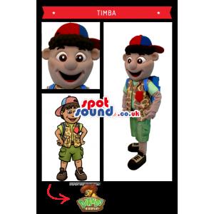 Adventurous Cartoon Boy Character Wearing A Cap - Custom Mascots
