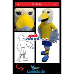 White Bird Plush Mascot In Yellow And Blue Clothes - Custom