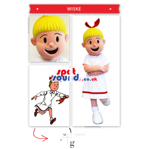Cartoon Character Girl Mascot In White Dress And Blond Hair -